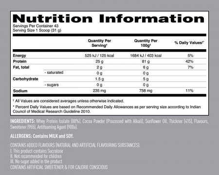 nutriara Isopure Low Carb 100% Whey Protein Isolate Powder